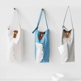 北歐風布藝皮釦紙巾掛袋