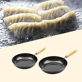 日本製木柄平底鐵鍋
