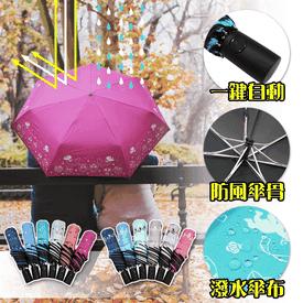 黑膠貓頭鷹自動開收雨傘