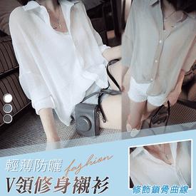 輕薄防曬V領修身襯衫